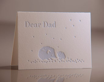 Dear Dad Hedgehog Card - Blue Hedgehogs Card - Father and Child Card - Blue Dad Card - Fathers Day Card - Letterpress Cards
