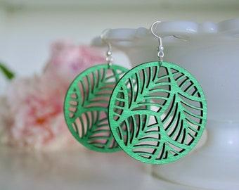 Laser Cut Earrings, Green Wood Earrings, Wooden Earrings, Lightweight Earrings, Green Earrings, Popular Earrings, Summer Earrings, Leaves