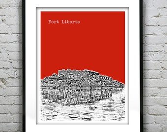 fort Liberte Haiti Skyline Poster Art Print Version 1