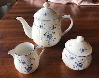 Nikko Perception China Teapot, Sugar Bowl & Creamer