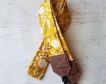 Mustard camera strap, dandelion strap, DSLR camera strap, pink strap, womens camera strap, photgraphy accessories, photographer gift, canon