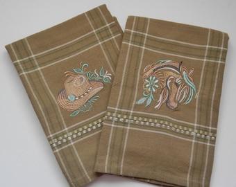 Embroidered Plaid Western Design Set, dish towel, tea towel, kitchen towel