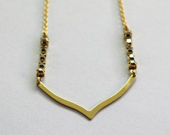 Brass Chevron Necklace / Geometric Rhinestone Necklace / Brass Geometric Necklace / Rhinestone Jewelry