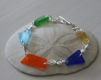 Bright Recycled Glass & Sterling Silver Bracelet