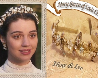 Reign, Mary Queen of Scots Golden Garland Crown and Earrings Set