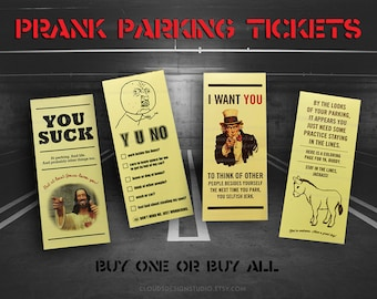 Prank Parking Tickets for Bad Drivers Gag Gift  - Buy One or Buy All 4 Fake Parking Violations