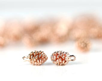 1 Rose Pine Cone Charm, Dainty Rose Gold Pine Cone, 1PPC-R