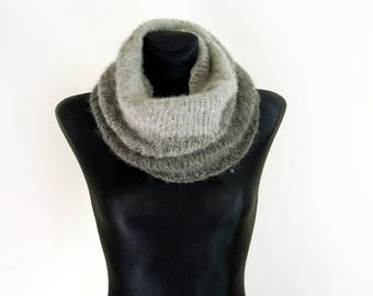 Gray Hooded Cowl, Hooded scarf, Hand Knit Cowl, Grey, Gray, Hood, Knitted Cowl, Cowl Scarf, Neckwarmer, Knitted Neckwarmer, Christmas gift