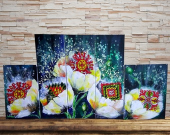 Original Painting Set of 5, Etnic Embroidery Painting, Poppies Painting, Painting on Canvas, Painting Set of Five, Poppy Embroidery Painting