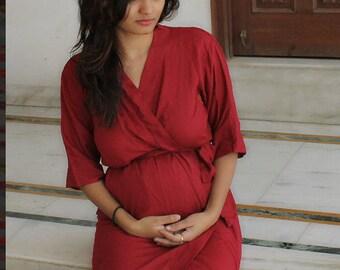 Maroon Maternity robe delivery & feeding, child birth, Pregnancy and Labor, bridal shower gift, wrap around robe