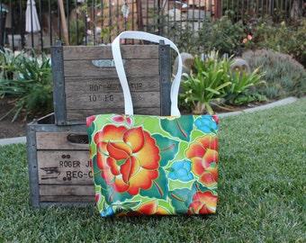 Market Tote - Retro Shopping Bag- Farmer's Market Tote -  Tehuana Lime Floral Oilcloth Tote - Reversible Oilcloth Tote - GladstoneCottage
