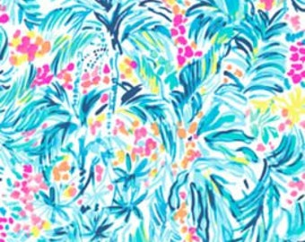 Cotton poplin fabric squares and pieces 6 X 6, 9 X 18  or 18 X 18 inches Serene Blue Tippy Top  ~Lilly Pulitzer~ Summer 2017