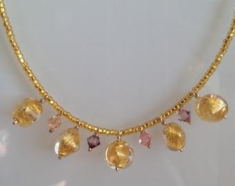 "Murano Glass Jewelry ""Dangling Gold"", Murano Glass Necklace. Venetian Necklace. Italian Jewelry. Collier Bijou or verre de Murano italien"