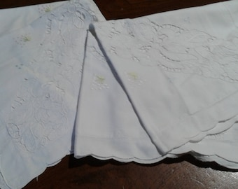 Hand-embroidered couple pillow cases vintage