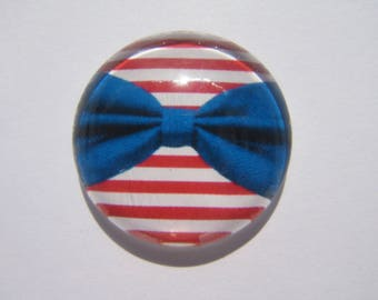 Beautiful cabochon 25 mm round domed with its red and white sailor look with big bow Blue Navy