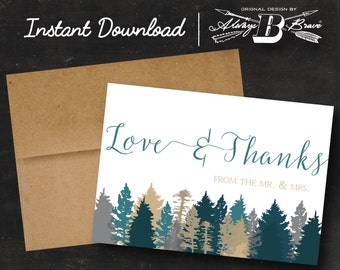 Wedding Thank You Cards | Love and Thanks Card | Instant Download Printable Digital File DIY | Trees Wedding Set | Rustic Thank You Card