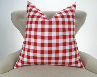 Red Plaid Pillow Cover -MANY SIZES- Check Pattern, Gingham Print, Euro Sham, Lumbar, Decorative Throw, Lipstick Red Buffalo Premier Prints