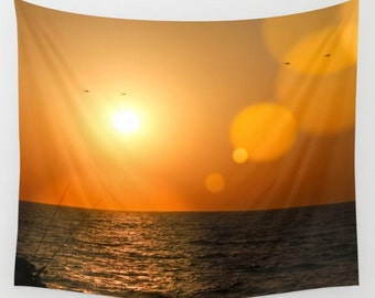 Sunset Tapestry Orange Tapestry Sunshine Tapestry Photo Tapestry Sea View Tapestry Wall Hanging Sky Tapestry Sea Tapestry Tel Aviv Tapestry