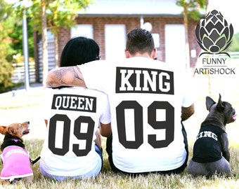 King and Queen shirts couple t shirt couple tees King Queen couple tshirts wedding gift anniversary gift 100% cotton Tee,  cotton