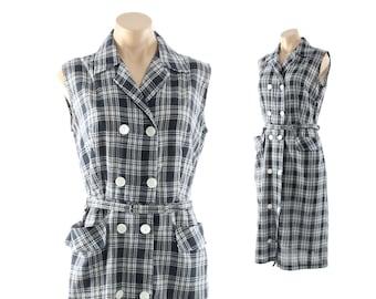 Vintage 50s Day Dress Navy Blue White Plaid Sleeveless Button Up Shirtwaist 1950s Medium M Large L Pinup Rockabilly Fashion