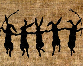Rabbit Rabbits Dancing Dance Silhouette Holding Hands Easter Digital Image Download Transfer To Pillows Totes Tea Towels Burlap No. 2504
