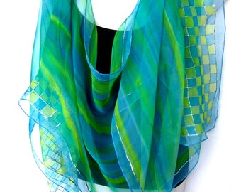 Hand Painted Silk Scarf, Silk Scarf Handpainted, Turquoise Blue Lime Green, Checked Geometrical, Chiffon Silk Scarf, Gift For Her
