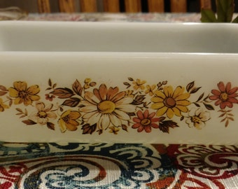 Anchor Hocking 5 x 9 (1 Quart) Loaf or Small Baking Dish  Floral or Autumn Motif  Made in USA