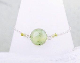 Silver 925 Prehnite Bracelet, Sterling Silver, Prehnite, Layered Bracelet, Karen Hill Tribe Vermeil, Green Bracelet, Chic, Salt Bijoux,