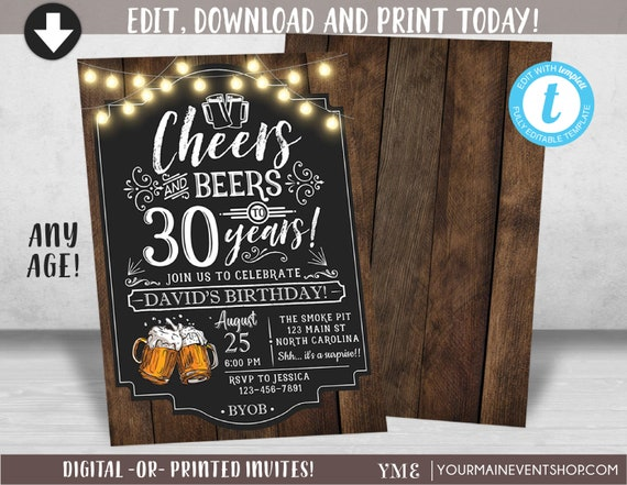 Cheers and Beers Birthday Invitation, Cheers and Beers to 30 Years, 40 Years, 50 Years, Adult Birthday Invite Printable, Cheers