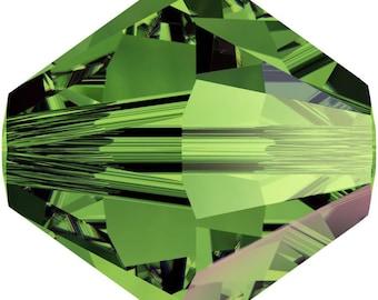 Swarovski Crystal Bicone Beads 5328 -  3mm 4mm 6mm 8mm -Dark Moss Green AB