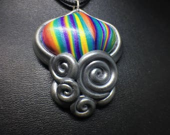 Rainbow Ribbon Candy Abstract Jellyfish Handmade Polymer Clay Charm, Silver Swirl Bezel