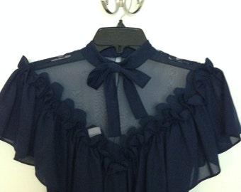 Sheer Navy High Neck Dress // 1970s Vintage