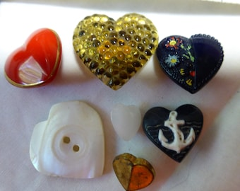 Vintage Buttons Heart shape various Materials Glass, Plastic,Mother of Pearl