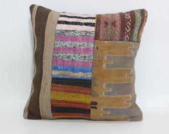 Bohemian Kilim Pillow Turkish Cushion 18x18 Decorative Kilim Pillow Sofa Pillow Cushion Cover SP4545-1108