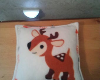 Pillow for child, s room. Baby rudolph. Fleece. Hypoallergenic stuffing. Measures 11x11. Same pribt both sides.