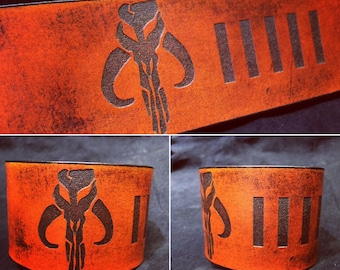 Leather Mythosaur bobafett cuff bracelet