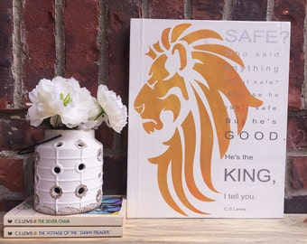 Aslan Chronicles of Narnia Wood Sign, Lion Witch Wardrobe, Aslan Lion Art, CS Lewis, Narnia Decor, Nursery Decor, Rustic Home Decor