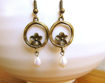 Plum Blossom Earrings With Pearls - Antiqued Bronze Pearl Earrings