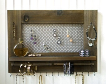 Jewelry Organizer Earring Bracelet Necklace Holder Rustic