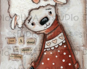 Print of my Original Whimsical Clever Sheep Mixed Media Painting - Just Who I Thought You Were