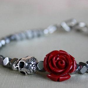 Skull Bracelet, Women, Gift For Girlfriend, Skull Jewelry, Silver Bracelet, Crystal Bracelet, Beaded Bracelet, Sugar Skull Bracelet,
