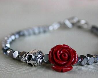 Skull Bracelet, Women's Skull Bracelet, Gift For Girlfriend, Skull Jewelry, Silver Bracelet, Crystal Bracelet, Beaded Bracelet, Sugar Skull