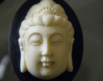 1 large cameo Buddha relief 3D 40x30mm Cabochon resin black and Ecru