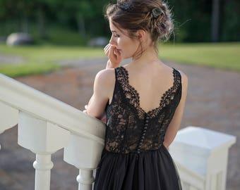 Black wedding dress, alternative wedding dress, off beat wedding dress, gothic wedding dress, black bridal gown, black evening gown -Lunaria