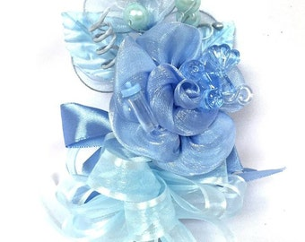 Baby Shower Light Blue Carriage & Bottle Baby Boy Corsage Favor
