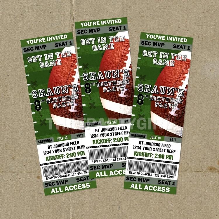 DIY Football Birthday Party Ticket Style Invitations Digital