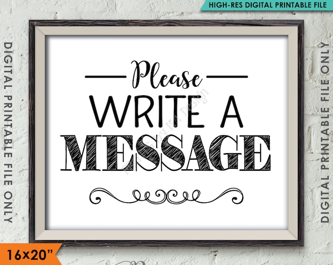 """Please Write a Message Sign, Leave a Message, Share a Thought Party Sign, Party Decor, 8x10""""/16x20"""" Instant Download Digital Printable File"""
