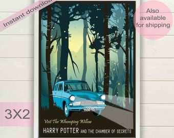 Harry Potter & Chamber of secrets poster | Whomping willow party gift | Minimalist artwork | Book, movie print | Instant download room decor