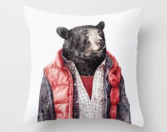 Black Bear THROW PILLOW, Bear Pillow, Animal Cushion