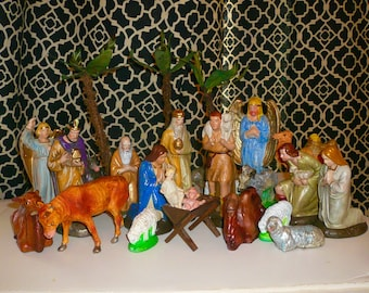 Nativity Set Vintage Animals Palm Trees Thirty Piece Set Paper Mache Chalkware by VintageReinvented